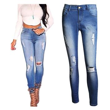 New Arrival 2016 Skinny Jeans Women High Waist Slim Pencil Pants Hole Design Women Denim Pants Size XS-4XL