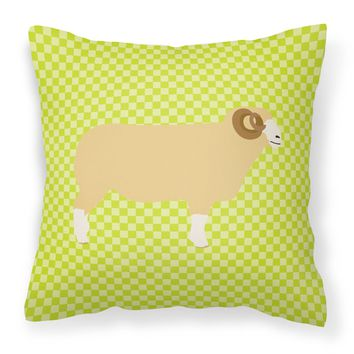 Horned Dorset Sheep Green Fabric Decorative Pillow BB7806PW1818