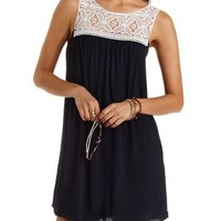 Crochet Yoke Shift Dress by Charlotte Russe - Navy