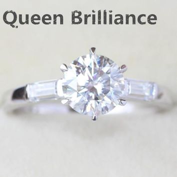 Genuine 14K 585 White Gold 1 Carat No Less Than GH Color Lab Grown Moissanite Diamond Engagement Ring Test Positive Diamond