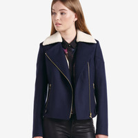 Faux shearling collar biker jacket - Navy | Jackets & Coats | Ted Baker ROW