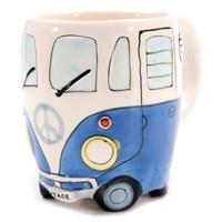 Shaped Volkswagen camper van mug, hand painted blue