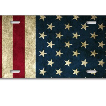 DistinctInk Custom Aluminum Decorative License Plate - Red White Blue United States Flag Old