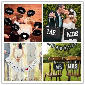 THANK YOU Valentines Wedding Party Banner Letter Paper Banner Hanging Bunting Flag