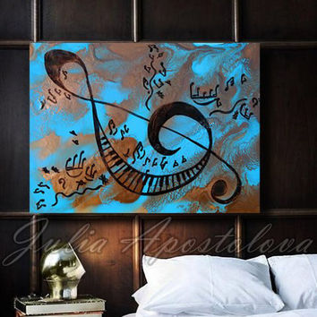 Musical notes art, Abstract music Painting Print, keyboard piano, sol key symbol, blue painting, gold abstract art, large kids room decor