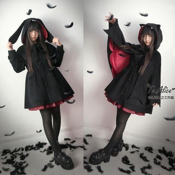 Vampire Cat & Vampire Bunny Women's Winter Black Cape & Long Sleeve Wool Blend Single Breast Coat Outwear Gothic Lolita Punk