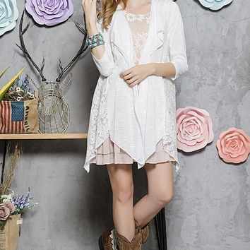 Lace Accent Cardigan - White