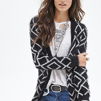 FOREVER 21 Fuzzy Diamond Knit Cardigan Black/Cream