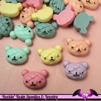 5 pcs BEAR HEAD BREAD BuNs   Resin Decoden Kawaii Flatback Cabochons 15 x 21mm