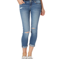 Aeropostale Womens Destroyed Medium Wash Cropped Jeans - Blue
