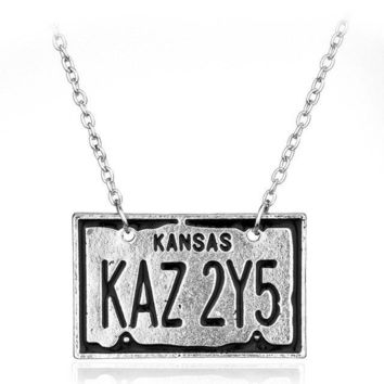 Supernatural Dean License Plate Necklace Bijouterie Suspension Pentagram Pendant For Lover Castiel Wings Angel Wicca Jewelry