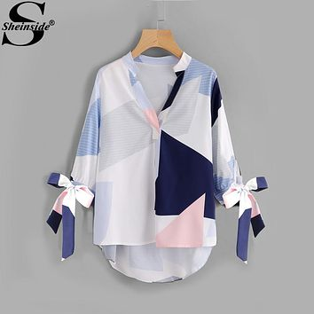 Sheinside V Neck Patchwork Bow Abstract Geometric Print Blouse Tie Cuff High Low Half Sleeve Top Women's Casual Fall Blouse
