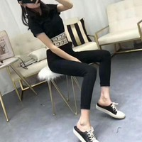 """""""Gucci"""" Women Bodycon Casual Fashion Knit Letter Short Sleeve Crop Tops High Waist Slim-fit Pants Trousers Set Two-Piece"""