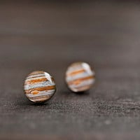 Solar system - Space jewelry - Jupiter stud earrings - Galaxy jewelry - Tiny earrings - Free shipping / STD15