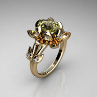 Nature Inspired 14K Yellow Gold 2.0 Carat Oval Yellow Topaz Diamond Lotus Flower Engagement Ring R1013-14KYGDYT