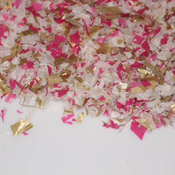 Confetti, tissue paper, gold, ivory, hot pink