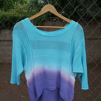 Aqua Pink And Purple Ombre Dip Dyed Guess Sweater