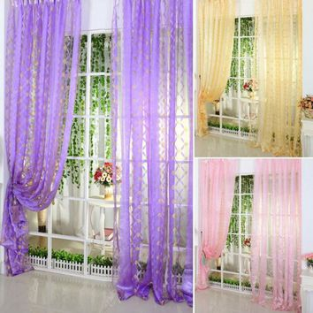 Multi-Color Sheer Curtain Panel Window Bed Room Curtains Decoration Valance