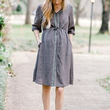 Charcoal Embroidered Dress for the Bump