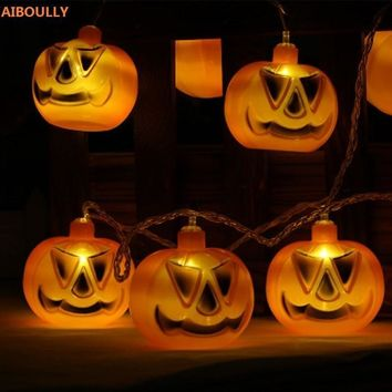 AIBOULLY 10 LED Hanging Halloween Decor 3D Pumpkins/Skull LED String Lights Lanterns Lamp For DIY Home Outdoor Party Supplies
