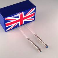 Exclusive Doctor Who 10th and 11th Sonic Screwdriver Interpreted Necklace in UK Union Jack Gift Box
