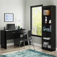 Axess 2 Piece Office Set with Narrow Bookcase in Pure Black - 7270070-7270758-PKG