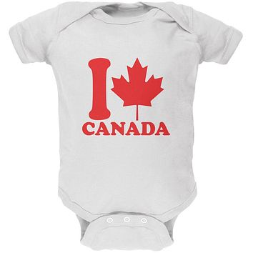 I Love Maple Leaf Heart Canada Soft Baby One Piece