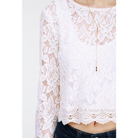 Lace Embroidered Flared Sleeve White Crop Top