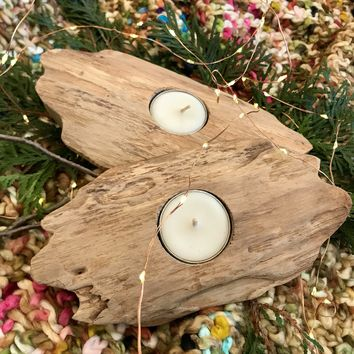 Teak Wood Tea Light Holder