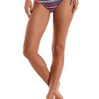 Tribal Print Ruched Bikini Bottoms by Charlotte Russe