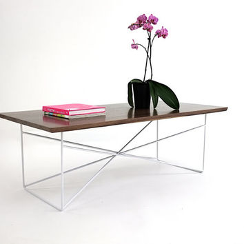 The Miami: Solid Walnut Coffee Table with Steel Legs, Midcentury Modern