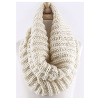 Must Have Cable Knit Chunky Ivory Tube Infinity Scarf