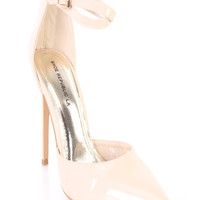 Nude Single Sole Ankle Strappy Heels Patent