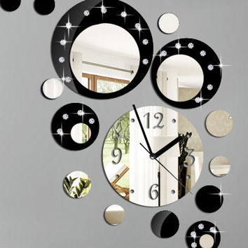 Modern wall clock, black wall clock, mirror , large wall clock, modern wall clock, living room decor Shatterproof