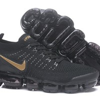 DC-CK N341 Nike Air Vapormax Flyknit 2 Casual Running Shoes Black Gold