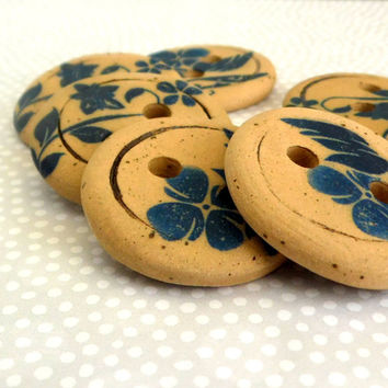 Set of 6 Large ceramic buttons , Yellow and blue Large buttons , Hand made buttons , Blue flower buttons , Craft Supplies , Sewing supplies