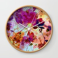flowers and light Wall Clock by clemm