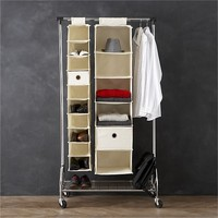 Twill 10-Section Hanging Shoe Bag in Closet   Crate and Barrel