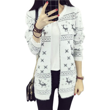 Women Lady Long Knitted Cardigan Coat Heart Plaid Pattern Round Collar Jacket Warm Sweaters SM6