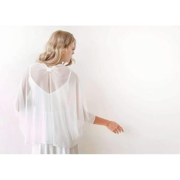 Ivory chiffon shrug, Bridal Cover Up 2015