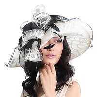 June's young Fancy Floppy Ruffle Glass Organza Ribbon Church Hat(white/black)