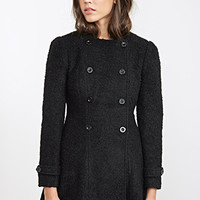 FOREVER 21 Collarless A-Line Boucle Coat Black