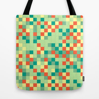 Canvas Tote Bag, Grid Design, Art Tote Bag, Yellow, Green, Blue and Red Tote, cool tote bag