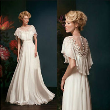 2014 New White/Ivory A-line Wedding dress Bridal gown Size 4 6 8 10 12 14 16 18+
