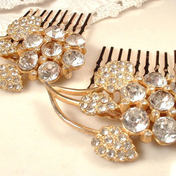 Pair 1920s - 1930s Art Deco Rhinestone GOLD Bridal Hair Combs, Heirloom Pave Crystal Floral Fur Clips to OOAK Hair Combs Great GATSBY Set  2