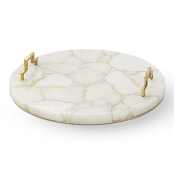 Round White Quartz Tray