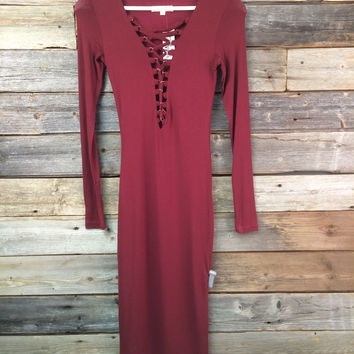 LACED UP L.S. DRESS - BURGUNDY