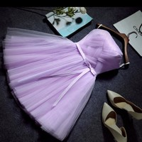 Cute wedding dress homecoming dress lace dress party dress short style purple