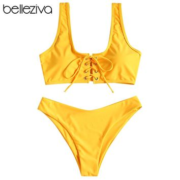 Belleziva Lace Up Bikini Set Push Up Swimwear Swimsuit Women Beach Biquini Bath Swimwear Women Monokini Bathing Suit Swim Suit