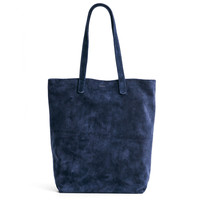 BAGGU Leather Basic Tote Midnight Suede